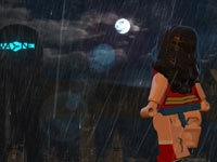 Wonder Woman surveying the city at night in Lego Batman 2: DC Super Heroes