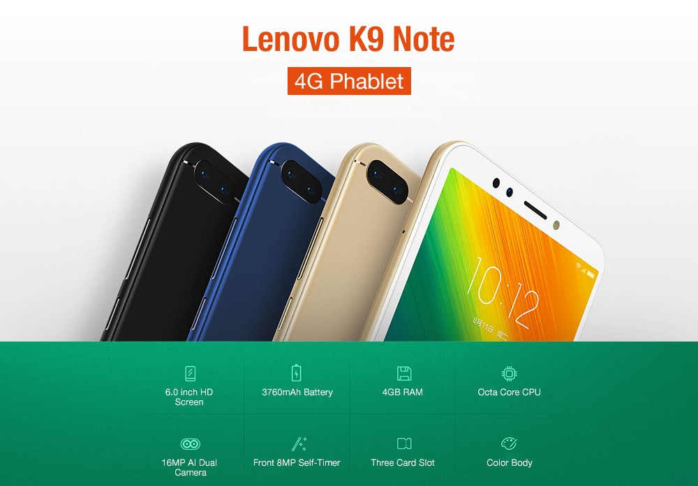 Lenovo K9 Note ( L38012 ) 4G Phablet 6.0 inch Android 8.1 QualcommSnapdragon 450 Octa Core 1.8GHz 4GB RAM 64GB ROM 16.0MP + 2.0MP Rear Camera Face ID 3760mAh Built-in