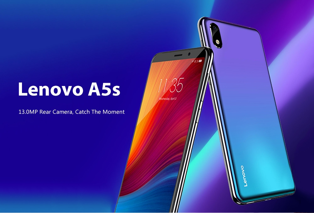 Lenovo A5s 4G Smartphone 5.45 inch Android P MT6761 Quad Core 2.0GHz 2GB RAM 16GB ROM 13.0MP Rear Camera 3000mAh Battery