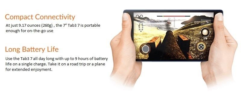 Lenovo Essential 7-Inch Quad Core-1 1GHz (1GB,16GB ROM) Android 7 Nougat,  3G Tablet - Black