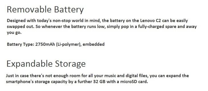 Lenovo Vibe C2 1GB + 8GB 2750mAh