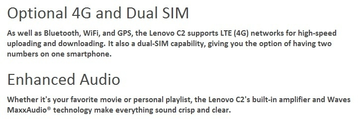 Lenovo Vibe C2 Dual Sim