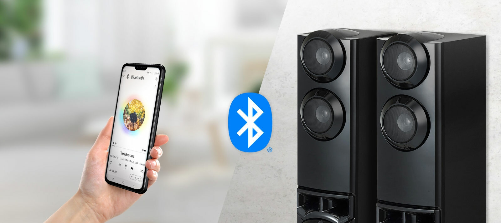 A smartphone and speakers are connected, and there is a Bluetooth logo between speakers and a smartphone.