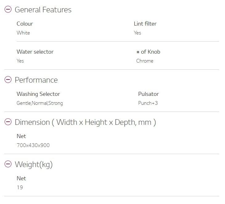 LG WP-750R Washing Machine specs on jumia