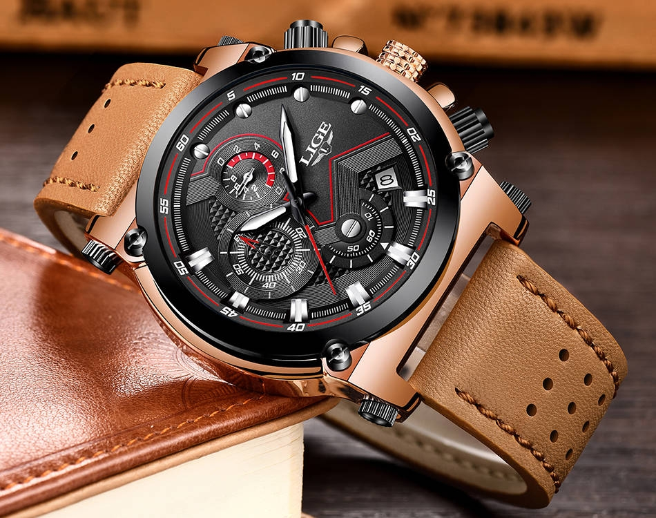 Lige lige watch men 39 s fashion sports quartz big dial clock leather mens watches top brand luxury for Lige watches