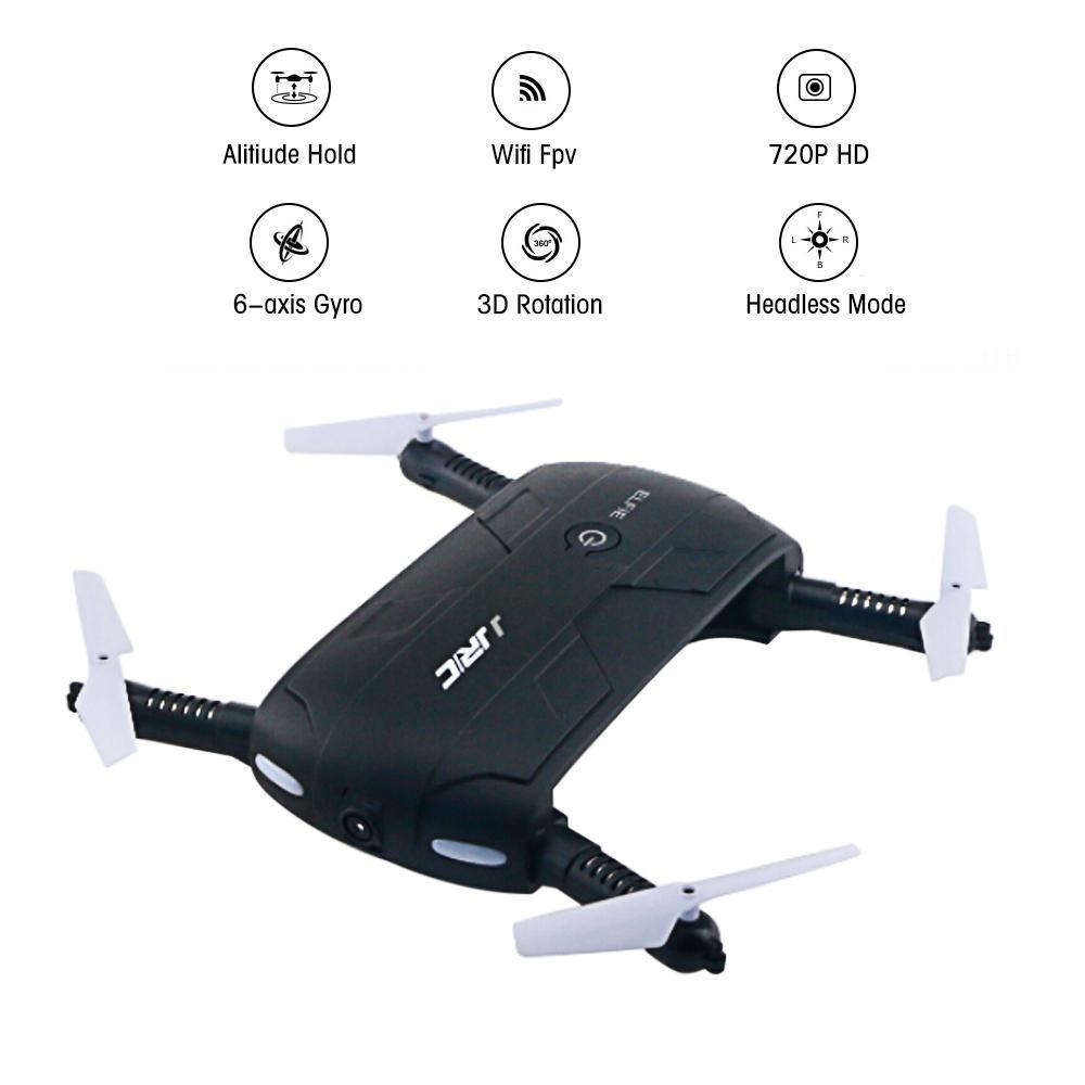 Louis Will Foldable Pocket Selfie Quadcopter Drone With Camera, JJRC H37  Elfie 720P HD Wifi FPV Altitude Hold Headless Mode Phone Control RC