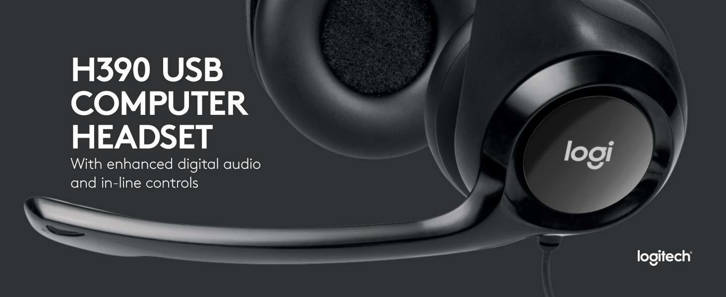 af4edc44988 Logitech Logitech USB Headset H390 With Noise Cancelling Mic- Black ...