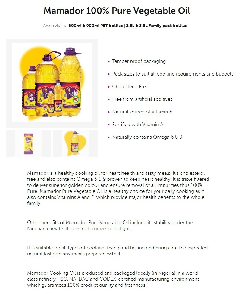 mamador cooking oil available in nigeria