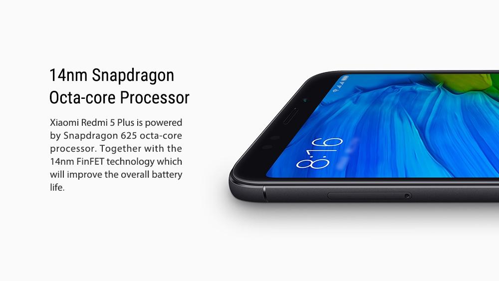 小米Redmi 5 Plus 5.99英寸4G LTE智能手机18:9全屏MIUI 9 4GB 64GB Snapdragon 625 Octa Core 12.0MP Cam  - 金
