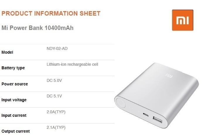 Mi Power Bank ( 10400mAh) specs on Jumia
