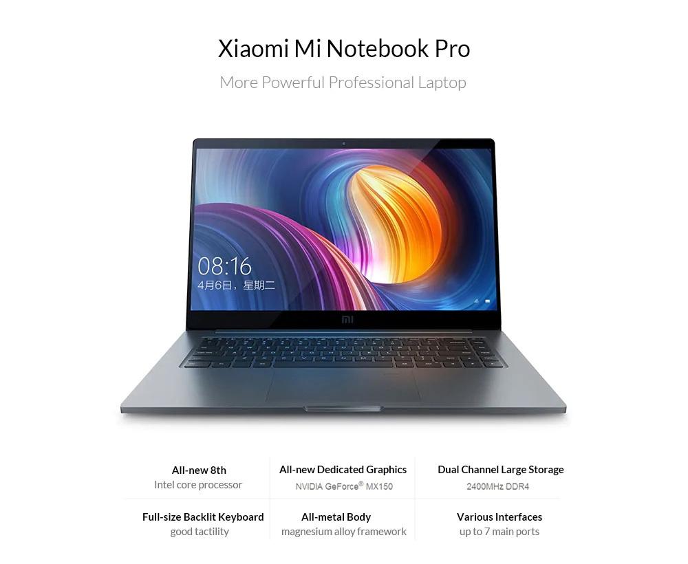 Xiaomi Mi Notebook Pro 15.6 inch Windows 10 Home Version Intel Core i5 8250U Quad Core 1.6GHz 8GB RAM 512GB SSD 1.0MP Front Camera Fingerprint Sensor Dual Band 5000mAh Built-in