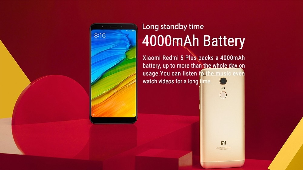 Xiaomi Redmi 5 Plus 5.99 Inch 4G LTE Smartphone 18:9 Full Screen MIUI 9 4GB 64GB Snapdragon 625 Octa Core 12.0MP Cam - Gold
