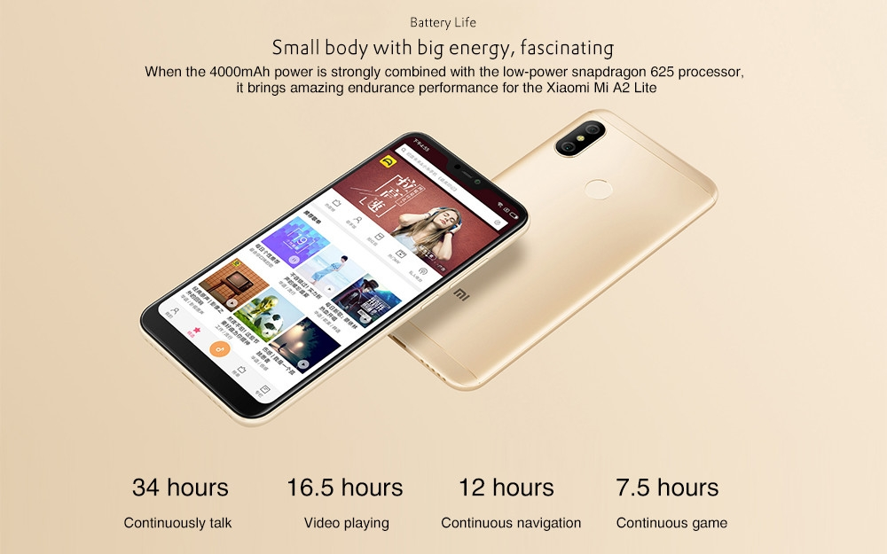 Xiaomi Mi A2 Lite 4G Phablet 5.84 inch Android 8.1 Qualcomm Snapdragon 625 Octa Core 2.0GHz 4GB RAM 64GB ROM 12.0MP + 5.0MP Dual Rear Cameras Fingerprint Sensor 4000mAh Built-in