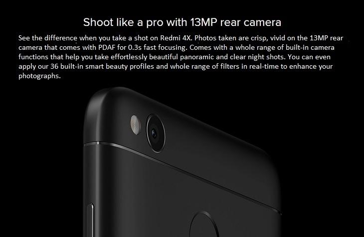 Redmi 4X 13MP camera