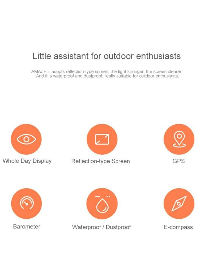 AMAZFIT Smartwatch Chinese Version with Corning Gorilla Glass Screen IP68 Waterproof Heart Rate / Sleep Monitor Geomagnetic Sensor GPS ( Xiaomi Ecosystem Product )- Black International Version