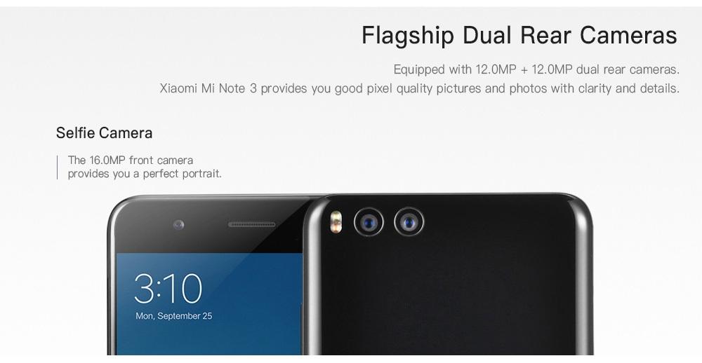 Xiaomi Mi Note 3 4G Phablet 5.5 inch MIUI 9.1 Snapdragon 660 Octa Core 2.2GHz 6GB RAM 128GB ROM 16.0MP Front Camera Fingerprint Sensor 3500mAh Built-in Mobile Version