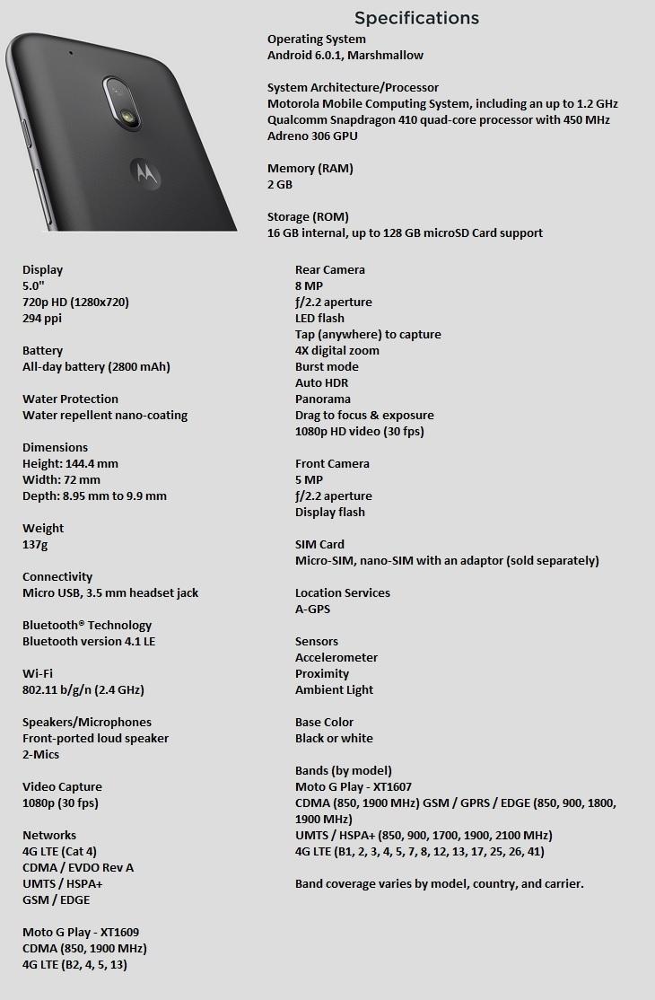 Motorola G4 Play SPECS