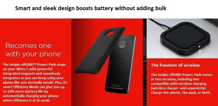 FREE Moto Mod Battery Pack/ smart and sleek design