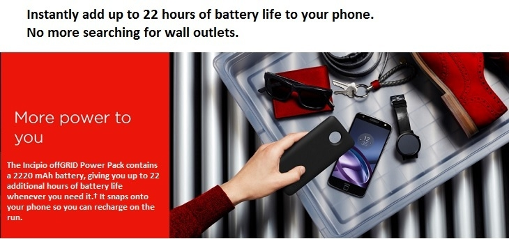 Moto Mod Battery Pack/ 22 hours battery life