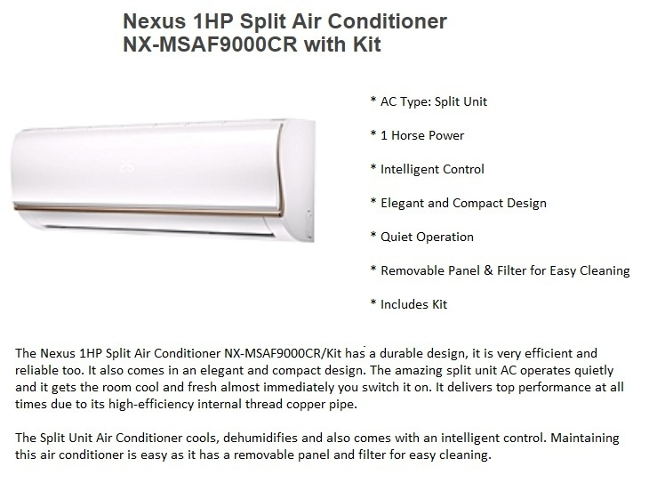 Nexus 1HP NX-MSAF9000CR on jumia best price nigeria