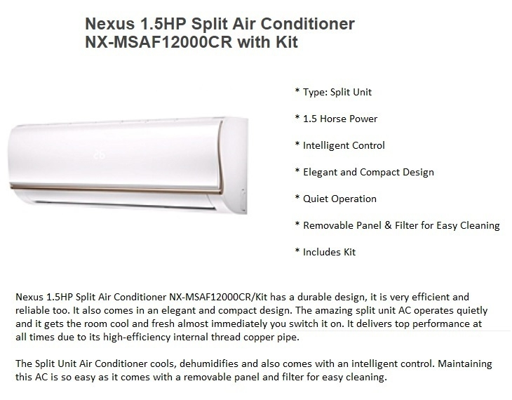 Nexus 1.5HP NX-MSAF12000CR Air Conditioner on jumia best price nigeria