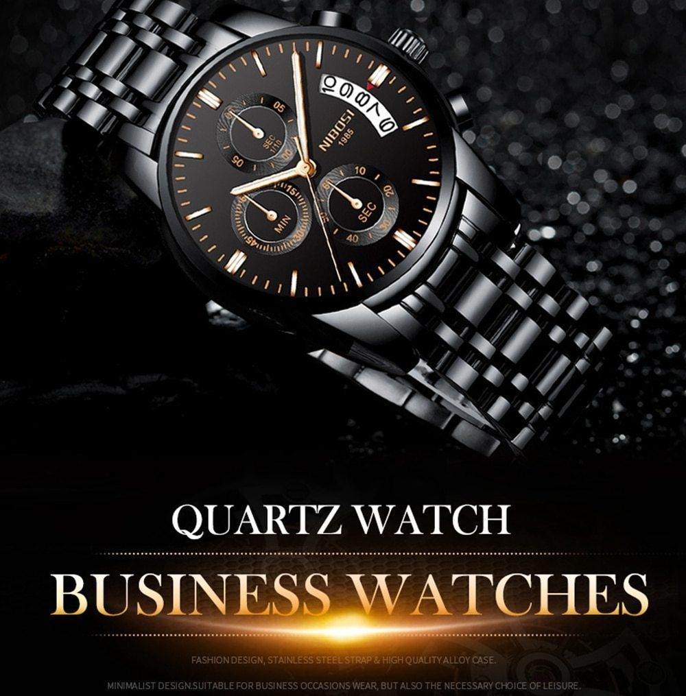 NIBOSI Mens Watches Top Brand Luxury Premium Luxury Fashion Luminous Waterproof Watch High-end Calfskin Pure Steel Strap Blue    (9)