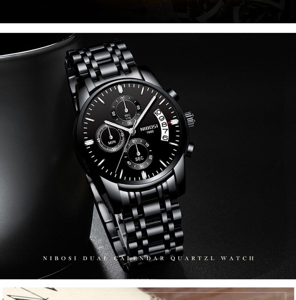 NIBOSI Mens Watches Top Brand Luxury Premium Luxury Fashion Luminous Waterproof Watch High-end Calfskin Pure Steel Strap Blue    (10)