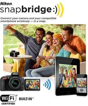 Photo of a group of people taking a selfie, using the D5500 remotely, along with the snapbridge logo and tablet and smart phone