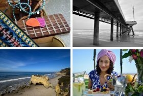 A montage of four images showing 1. Close-up of a guitar fret, 2. Monochrome view of a pier, 3. A seascape, 4. A portrait of a young woman.