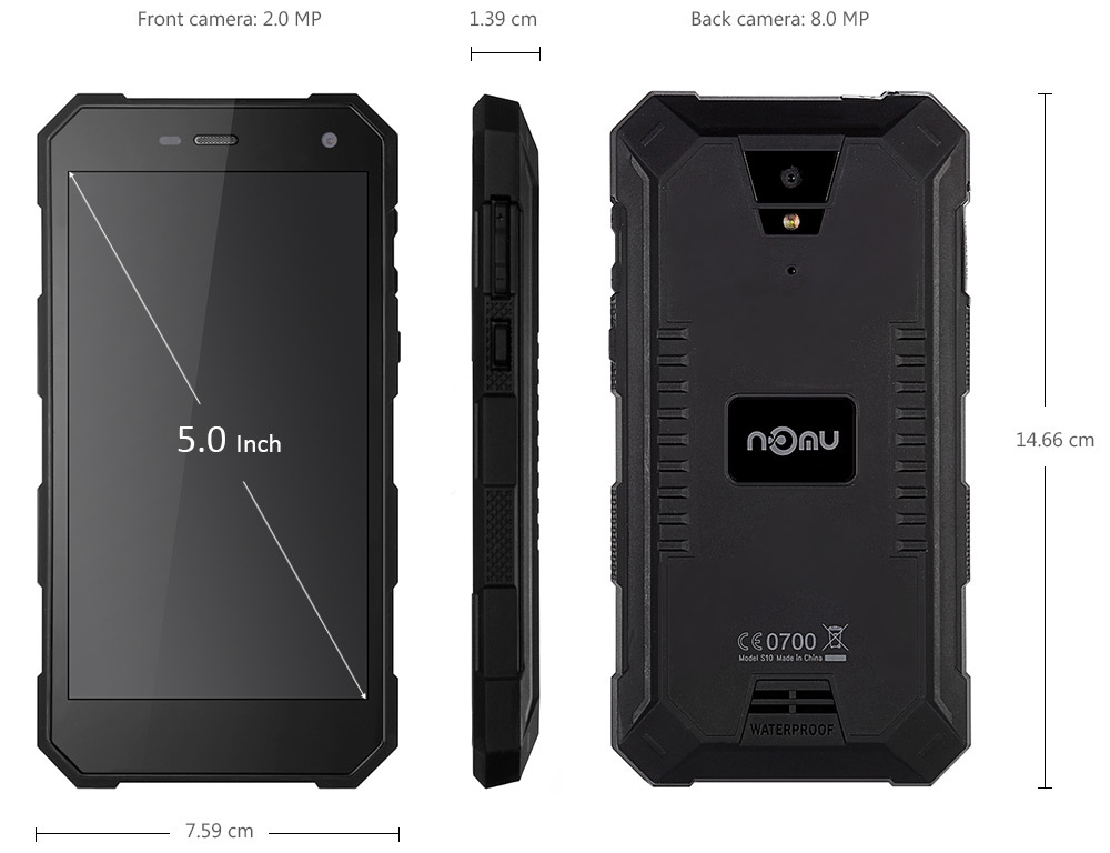 S10 Android 6.0 5.0 inch 4G Smartphone MTK6737 1.5GHz Quad Core 2GB RAM 16GB ROM Waterproof IP68