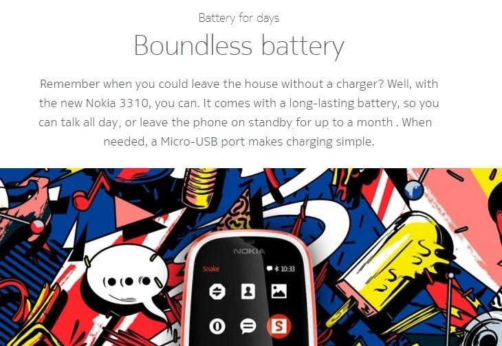 Nokia 3310 boundless 1200mah battery
