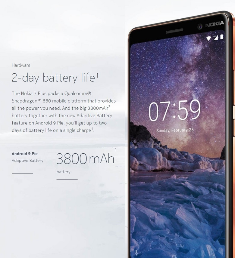 nokia 7 plus 2 day battery life