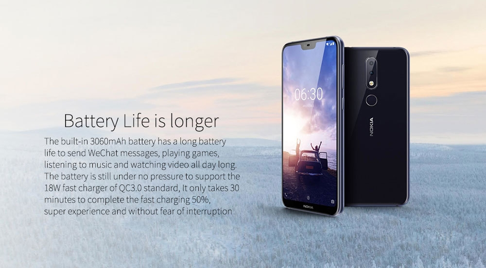 Nokia X6 ( Nokia 6.1 Plus ) 4G Phablet 5.8 inch Android 8.1 Snapdragon 636 Octa Core 4GB RAM 64GB ROM 16.0MP + 5.0MP Dual Rear Cameras Fingerprint Sensor Face ID 3060mAh Built-in