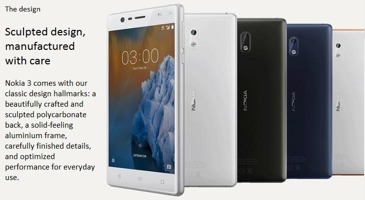 Nokia 3 sculpted design