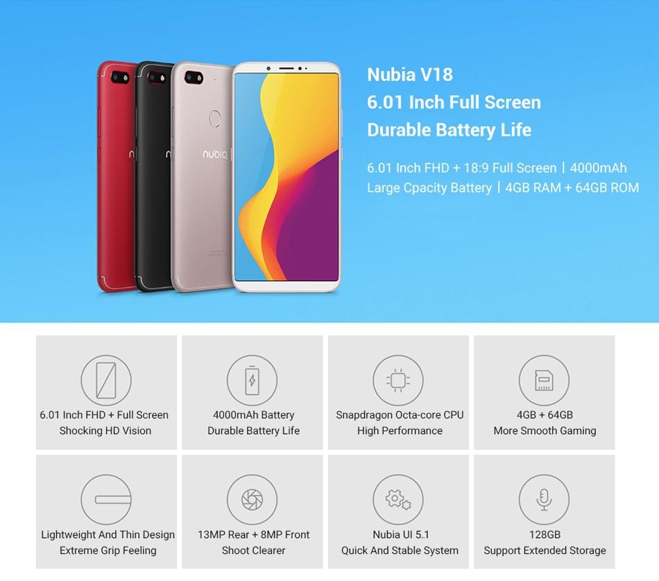 ZTE Nubia V18 Global Version 6.01 Inch FHD+ 18:9 Full Screen 4000mAh 4GB 64GB 4G Smartphone