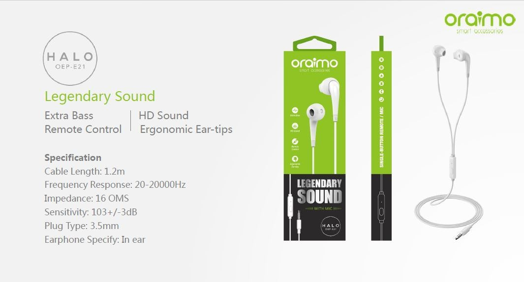 Oraimo Halo OEP E21 In ear, Bass, HD Sound Ear Phones With Remote & Mic price in nigeria