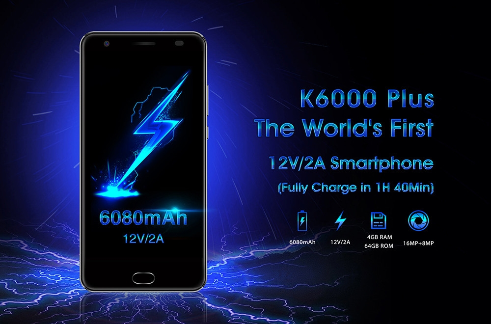 OUKITEL K6000 Plus 4G Phablet 5.5 inch Android 7.0 MTK6750T Octa Core 1.5GHz 4GB RAM 64GB ROM 8.0MP + 16.0MP Cameras 6080mAh Battery Front Touch ID