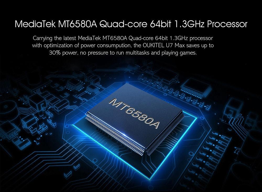 Oukitel U7 Max 3G Phablet 5.5 inch Android 6.0 MTK6580 Quad Core 1.3GHz 1GB RAM 8GB ROM 8.0MP Rear Camera 2500mAh Battery
