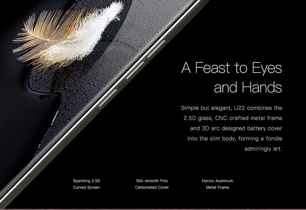 Oukitel U22 3G Phablet 5.5 inch Android 7.0 MTK6580A Quad Core 1.3GHz 2GB RAM 16GB ROM Fingerprint Sensor Dual Front Cameras