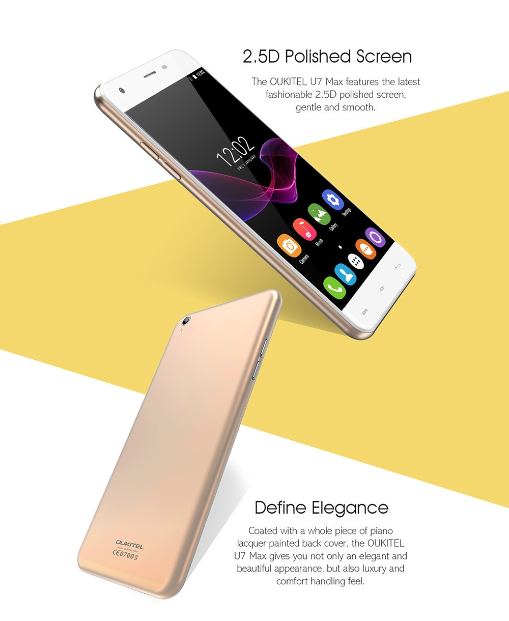 Oukitel U7 Max 3G Phablet 5.5 inch Android 6.0 MTK6580 Quad Core 1.3GHz 1GB RAM 8GB ROM 8.0MP Rear Camera 2500mAh Battery