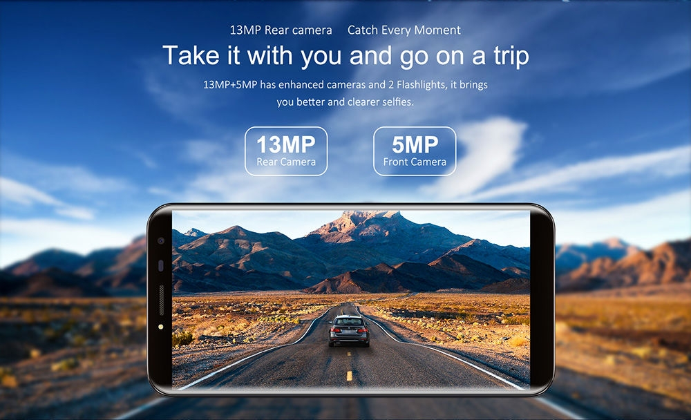 OUKITEL C8 3G Phablet 5.5 inch 2.5D Arc Screen Android 7.0 MTK6580A 1.3GHz Quad Core 2GB RAM 16GB ROM Fingerprint Scanner 8.0MP Rear Camera
