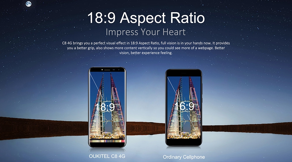 OUKITEL C8 4G Smartphone Android 7.0 5.5 inch MTK6737 Quad Core 1.3GHz 2GB RAM 16GB ROM Touch Sensor 8.0MP Rear Camera