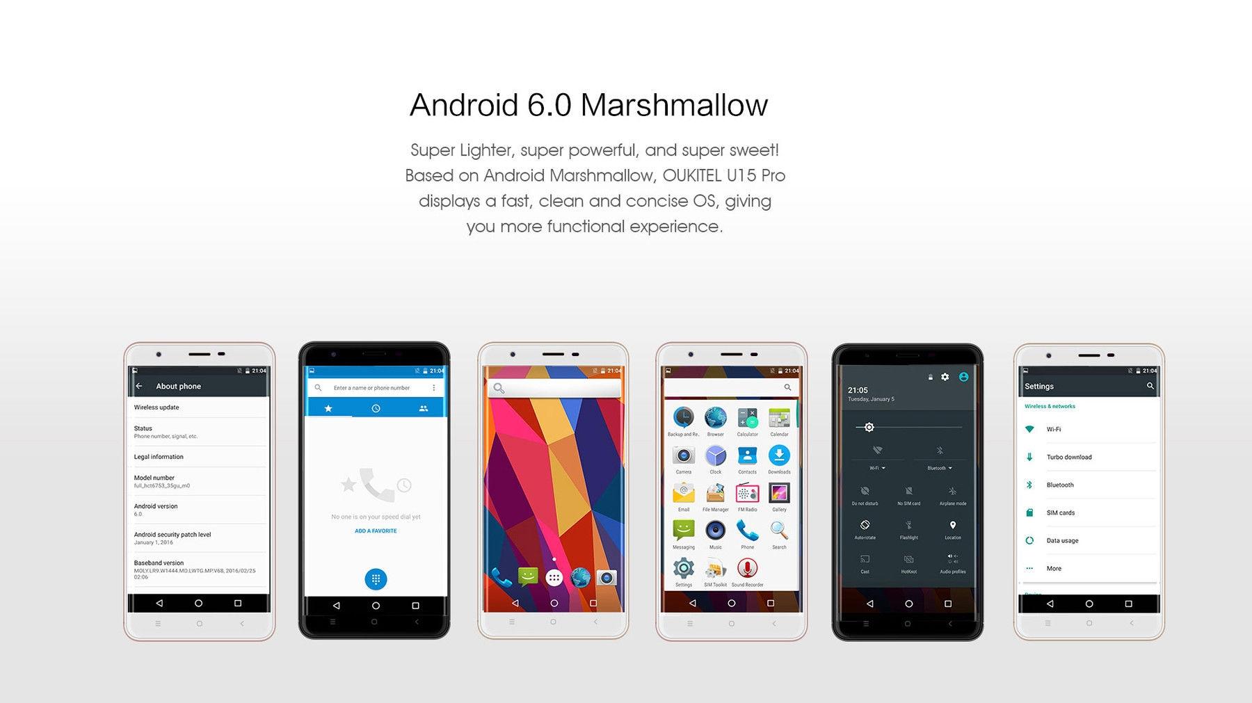 Oukitel U15 Pro Android 6.0 5.5 inch 4G Phablet MTK6753 Octa Core 1.3GHz 3GB RAM 32GB ROM 16.0MP Rear Camera Fingerprint Scanner Bluetooth 4.0