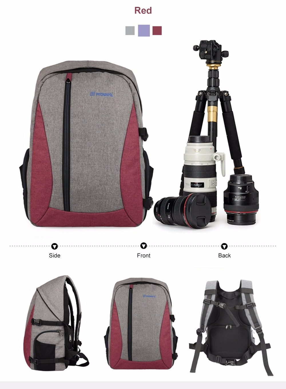 PROWELL DC21439 DSLR Camera Photography Backpack