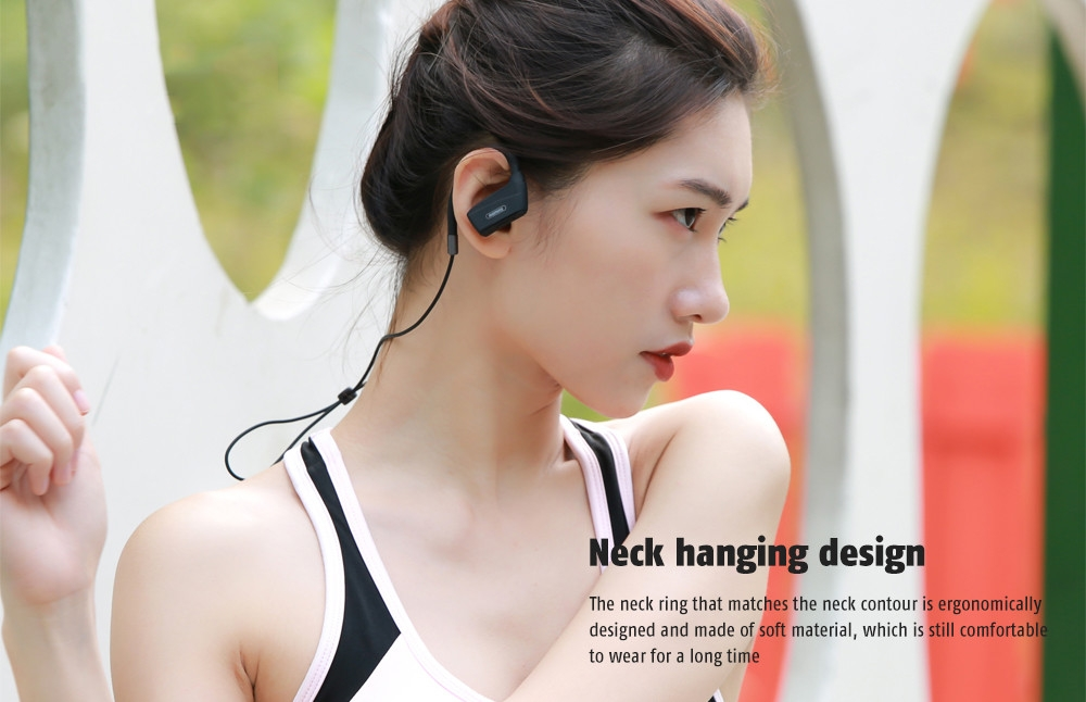 REMAX RB - S19 Neck Hanging Design / Surround Sound Effect / Noise Canceling Bluetooth In-ear Sports Earphone with Mic
