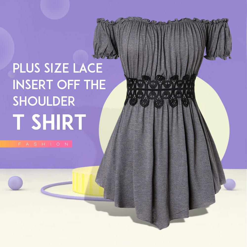 Plus Size Lace Insert Off The Shoulder T Shirt