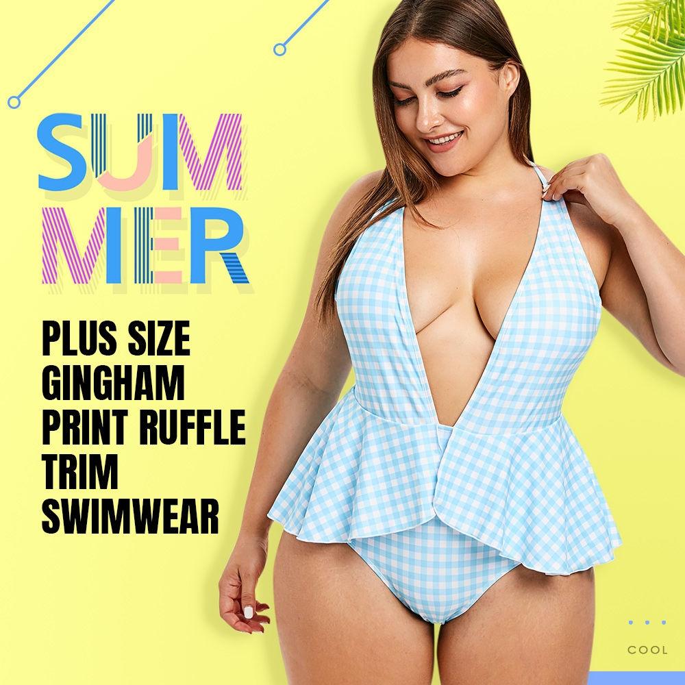 Plus Size Gingham Print Ruffle Trim Swimwear