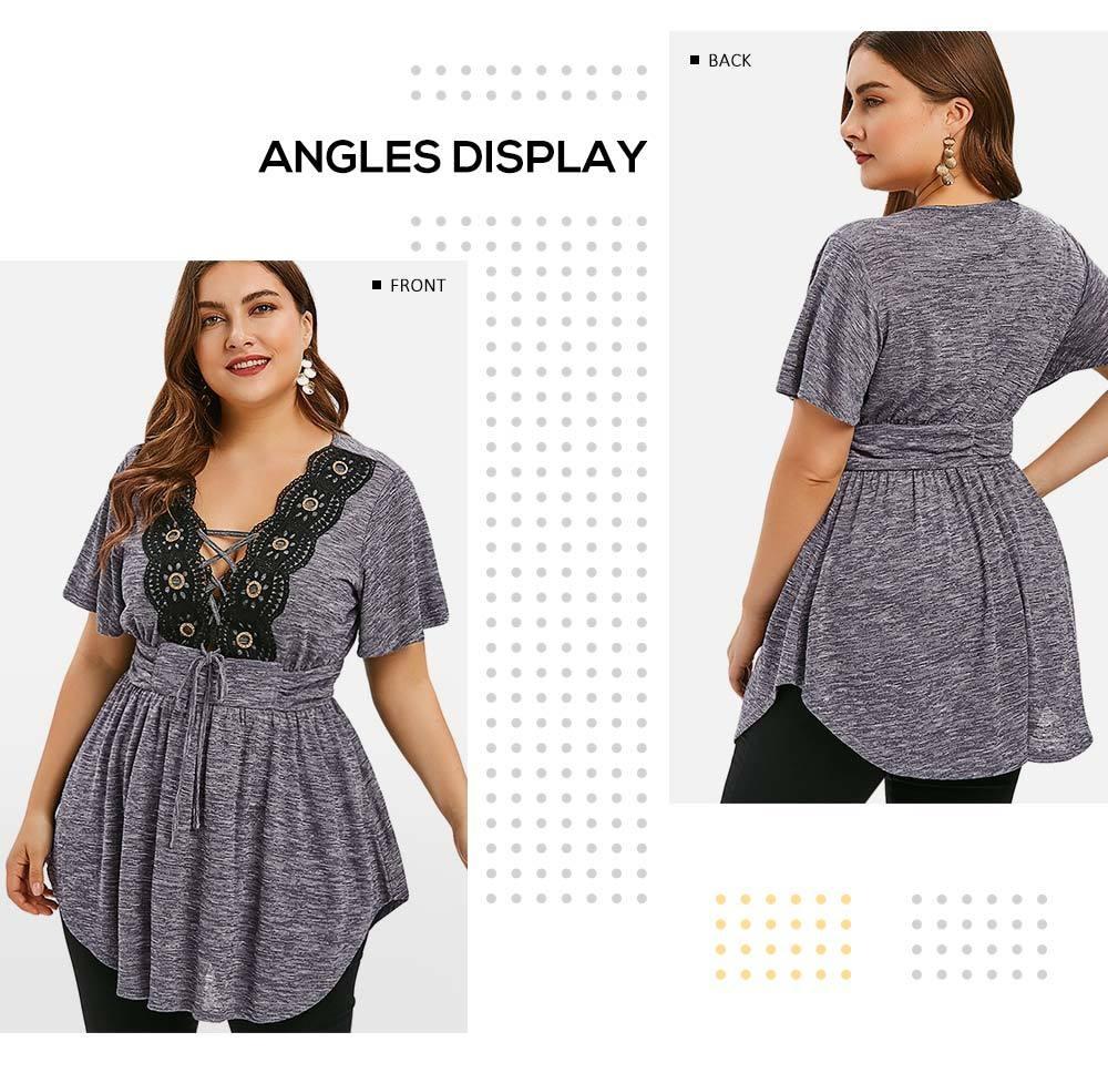 Lace Insert Lace Up Plus Size T-shirt