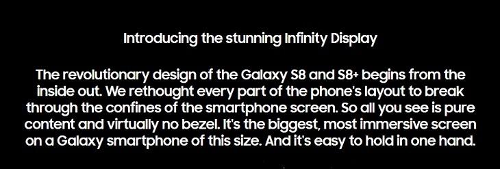 Samsung S8 S8+  Infinity Display