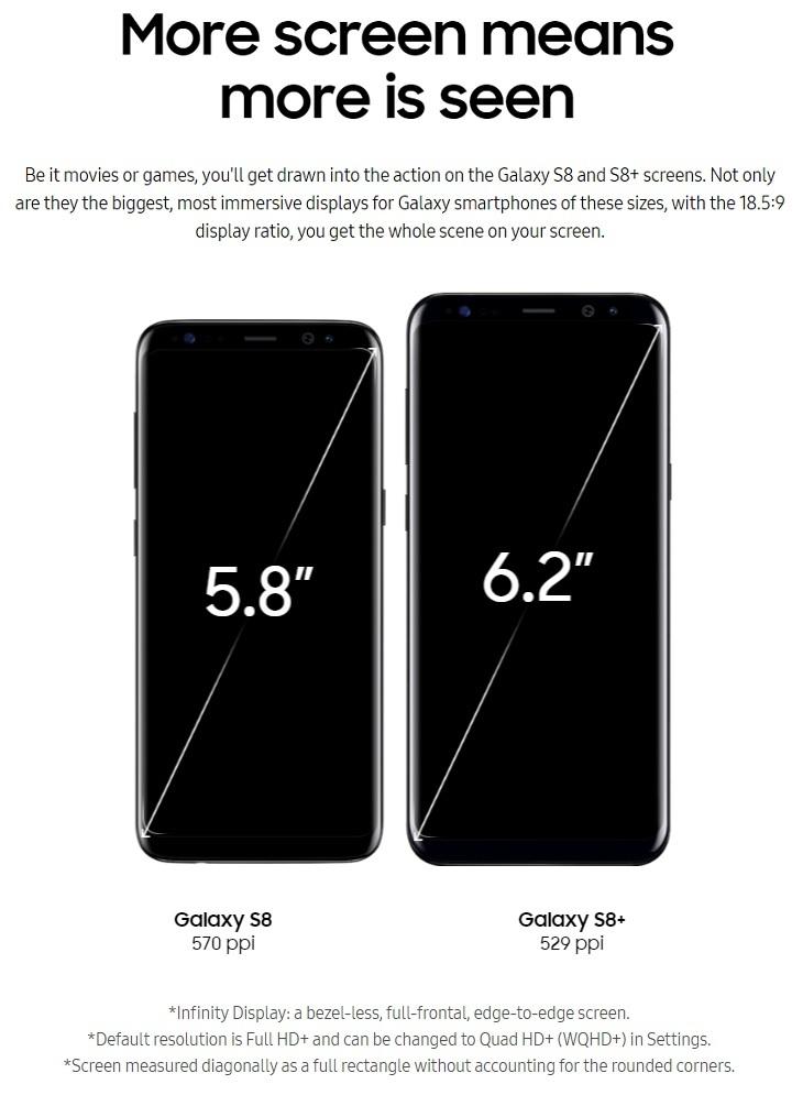 Samsung S8 S8+  5.8 6.2 inch screen
